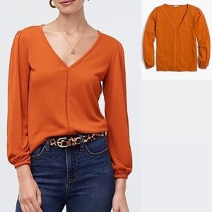 J. Crew Drapey Ribbed V Neck Top Tawney Spice
